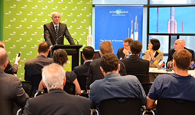 Arianespace Chairman & CEO Jean-Yves Le Gall provides comments during the launch contract signing event for the National Broadband Network's (NBN) first two satellites.