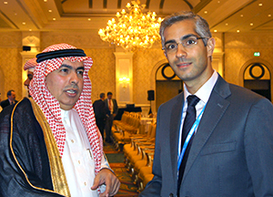 At this week's Global Space and Satellite Forum in Abu Dhabi, Arianespace Sales Director Tony Thoma meets with H.H. Prince Dr. Turki Saud Mohammed Al-Saud, the Vice President for Research Institutes at Saudi Arabia's King Abdulaziz City for Science and Technology.