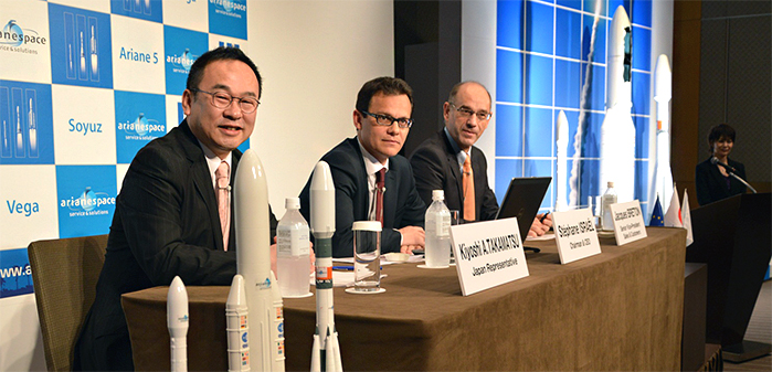 Pictured from left to right, Arianespace's Japan Representative Kiyoshi Takamatsu, Chairman & CEO Stéphane Israël and Senior Vice President, Sales & Customers, Jacques Breton sit next to models of the company's full launcher family (from left to right: Vega, Ariane 5 and Soyuz) at a press event held during Arianespace Japan Week 2013.
