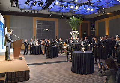 Chairman & CEO Stéphane Israël speaks to customers, government officials and partners during the company's May 21 reception held in Tokyo as part of Arianespace Japan Week 2013.
