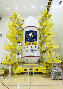 In separate activity at the Spaceport's S3B facility, the Galileo mission logos have been applied to the payload fairing – which encapsulates this mission's two-satellite payload and their dispenser system.