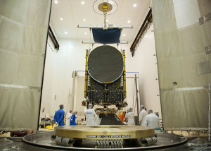 In preparation activity for Arianespace's mission, Optus 10 is shown during its fit-check process inside the Spaceport's S1B clean room.