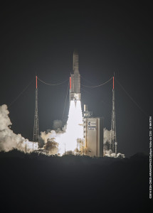 Ascending from French Guiana, Ariane 5 lights up the Spaceport during its successful Flight VA218.