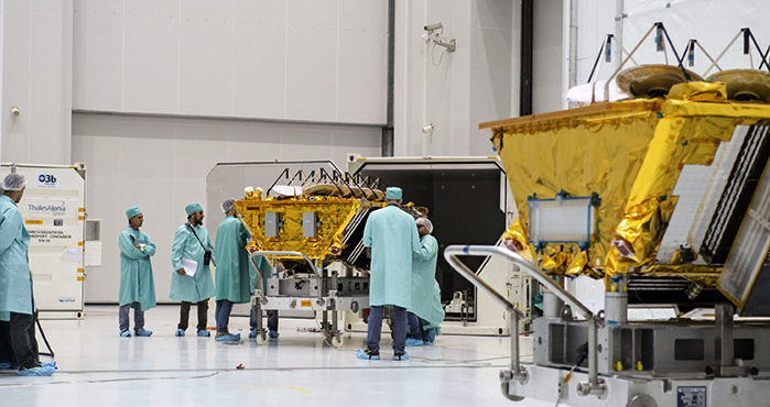 The individual shipping containers from which the three O3b Networks spacecraft were removed in clean room conditions provided protection during last week's cargo flight to French Guiana.