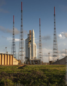 Ariane 5 is shown ready for its liftoff at the Spaceport in French Guiana.