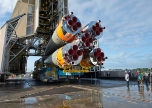 During its horizontal transfer today, the Soyuz for Arianespace's upcoming mission passes under the mobile gantry on its way to the launch pad.