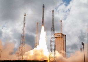 The lightweight Vega member of Arianespace's launcher family lifts off from the Spaceport with its IXV passenger.
