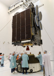 In preparation activity for Arianespace's mission, THOR 7 is lowered for its fit-check process inside the Spaceport's S5C clean room facility.