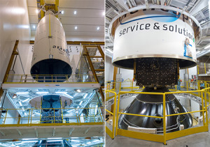 Ariane 5's payload fairing is lowered over THOR 7 in these two images. The photo at right details this satellite's installation atop the SYLDA dispenser system.