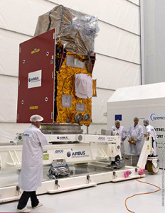 Sentinel-2A is positioned in the Spaceport's S5 payload processing facility for preparation ahead of its scheduled June launch on Vega.
