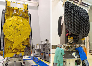 At the Spaceport, DirecTV-15 is fueled in the S5 payload preparation facility (photo, left); while in the S1B clean room (at right), SKY Mexico-1 undergoes a fit check with the adapter that will serve as its interface with Ariane 5.