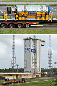 A zoom-in view (at top) details Vega's Zefiro 23 solid propellant second stage during transfer, while a wider angle photo (at bottom) shows it approaching the Spaceport's ZLV launch site. Silver-colored thermal protection is removed from the stage once inside the launch site's mobile gantry.