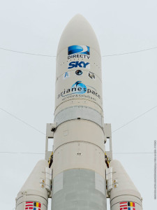 Ariane 5 is shown in the Spaceport's ELA-3 launch zone prior to its liftoff on Flight VA223 with the DirecTV-15 and SKY México-1 satellites.