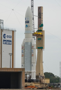 The heavy-lift Ariane 5 for Arianespace Flight VA224 is transferred to the ELA-3 launch zone at the Spaceport for its July 15 mission with Star One C4 and MSG-4.