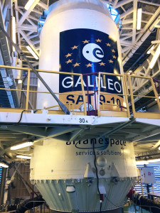"The ""upper composite"" containing Flight VS12's two Galileo satellites is shown in this close-up photo, taken earlier today in the upper levels of the Soyuz launcher's mobile gantry at the Spaceport in French Guiana."