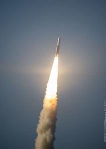 The Ariane 5 ascends from the Spaceport in French Guiana with a dual-satellite payload of Sky Muster and ARSAT-2.