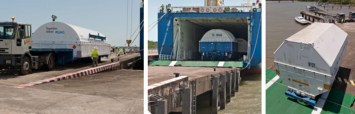In this photo series, Ariane 5 launcher elements to be used for Arianespace Flight VA222 are being unloaded from the MN Toucan sea-going vessel – which transported these components from their European production sites to French Guiana.