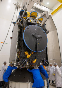Athena-Fidus, one of the two passengers for Arianespace's upcoming Flight VA217, undergoes pre-launch checkout at the Spaceport in French Guiana.