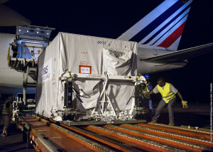 DZZ-HR is unloaded from a Boeing 747 following the cargo jetliner's arrival at Félix Eboué Airport near Cayenne, the capital city of French Guiana.
