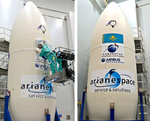 The decal for DZZ-HR – which includes the Republic of Kazakhstan flag and logo for this Earth observation satellite's prime contractor, Airbus Defence and Space – was added to the Vega launcher's payload fairing during earlier mission preparation activity at the Spaceport.