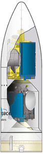 Cut-away illustration of Flight VA218's payload.