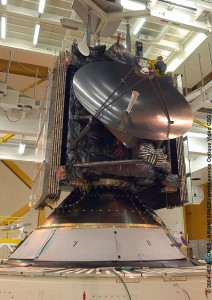 "The Rosetta ""comet-chaser"" spacecraft is shown in 2004 following integration on its Ariane 5 at the Spaceport."