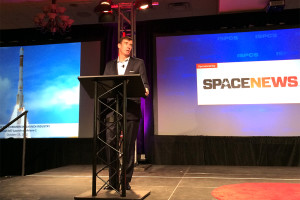 Arianespace, Inc. President Clay Mowry delivers a keynote address on Day 1 of the International Symposium for Personal and Commercial Spaceflight.
