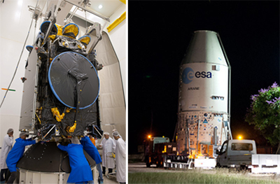 Following its initial checkout in the Spaceport's S1A clean room at French Guiana (photo at left), the Athena-Fidus relay satellite is transferred to the S5 payload preparation center for its fueling.