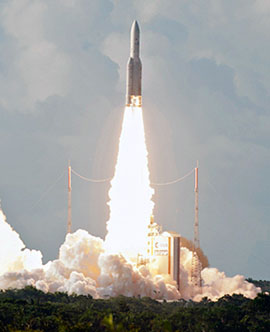 Ariane 5's heavy-lift success with EUTELSAT 25B/Es'hail 1 and GSAT-7 was the launcher's 71st flight from French Guiana.
