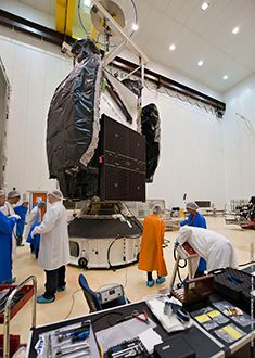 Azerspace/Africasat-1a is the center of attention during its fit-check in the S1B clean room.