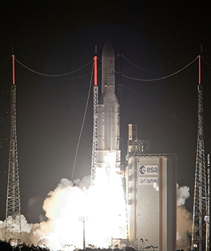 The Skynet 5D and Mexsat Bicentenario satellites were lofted on the heavy-lift Ariane 5 launcher's 53rd consecutive successful mission.