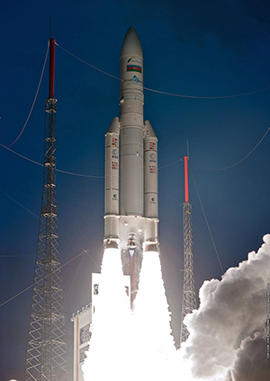 The Ariane 5 begins its ascent with this evening's record-setting payload to geostationary transfer orbit.