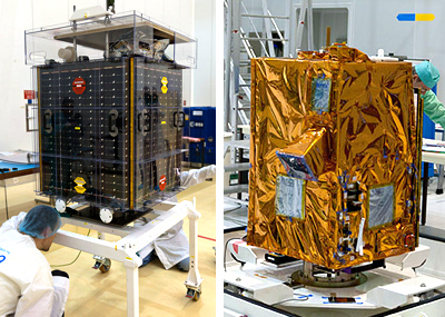 In the photo at left, Proba-V undergoes its checkout inside the S1B clean room. At right is VNREDSat-1, which began its processing in the S5A integration hall of the Spaceport's S5 payload preparation building.
