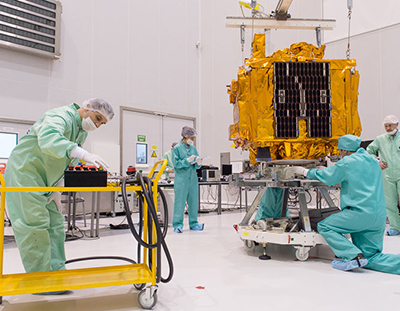 The Microscope satellite is readied for its pre-launch checkout in the Spaceport's S5 payload preparation facility.