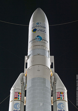 The Ariane 5 for Arianespace Flight VA229 is shown in the Spaceport's ELA-3 launch zone prior to its early morning liftoff.