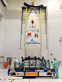 The integrated payload stack is readied for its transfer from the Spaceport's S5 preparation facility to the ZLV launch site for Vega.