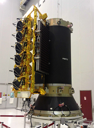 O3b Networks' first satellite has been integrated on the dispenser system that will deploy four spacecraft during the upcoming Arianespace mission from French Guiana.