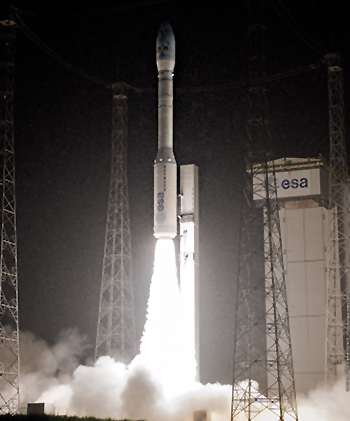 Under a steady rain, Vega begins its 2-hour mission from the Spaceport to deploy the Proba-V, VNREDSat-1 and ESTCube-1 satellite payloads.