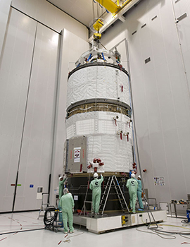 ATV Albert Einstein is readied inside the S5 payload preparation facility at Europe's Spaceport for its transfer to the Ariane 5 Final Assembly building.