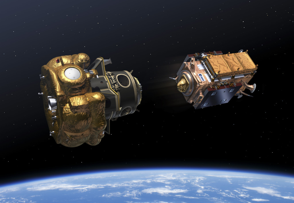 This image depicts Sentinel-1B as it was released during Flight VS14's multi-payload deployment sequence. At left is Soyuz' Fregat upper stage, on which the ASAP-S platform was installed with its three CubeSats. At ASAP-S's center is the extender/adapter that housed the Microscope satellite.