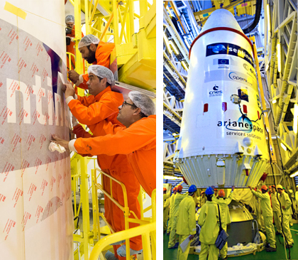"""During preparations leading to today's go-ahead for Flight VS14, the logos for this mission's satellite passengers were installed on the Soyuz payload fairing (at left). In the photo at right, the completed """"upper composite"""" – with the five satellite passengers and Fregat upper stage encapsulated inside the payload fairing – is installed atop Soyuz inside its mobile gantry at the Spaceport."""