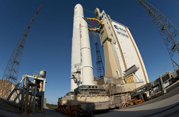 Ariane 5 is shown in the ELA-3 launch zone prior to its liftoff on a successful flight that orbited EUTELSAT 21B and Star One C3.