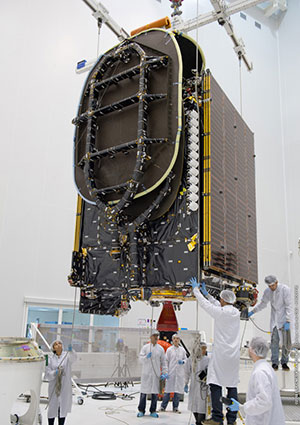 BRIsat positioned for fit-check validation