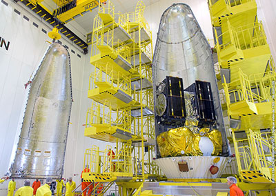 Galileo FOC satellites are encapsulated in Soyuz' protective payload fairing