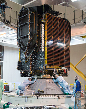 BRIsat satellite payload is placed on Ariane 5 central core