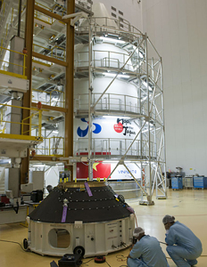 The Ariane 5's payload fairing is shown in its preparation rig at the Spaceport in French Guiana.