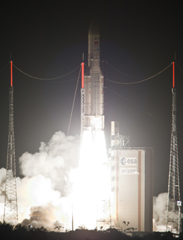 The heavy-lift payload performance for Ariane 5 on tonight's mission was a total of more than 8,380 kg.