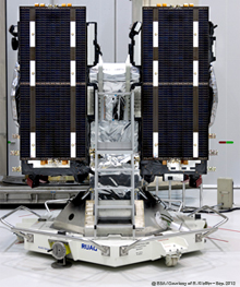 The two Galileo navigation satellites for Arianespace's VS03 Soyuz mission from the Spaceport are shown installed on their payload dispenser system.