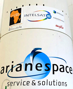 "A decal on the Ariane 5's payload fairing includes Nelson Mandela's signature, along with logos of the Intelsat New Dawn satellite team. His signature appears below an image of the African continent with the wording: ""a solution for Africa, by Africa,"" under which is the Zulu-language phrase: ""Go Well, New Dawn."""