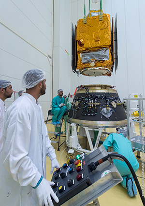 PerúSAT-1 is shown during the fit-check validation ahead of its Vega launch